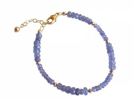 Damen Armband Vergoldet Tansanit Facettiert Blau Lila
