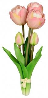 Künstliche blühende Tulpen als Bund 5 Stück grün rosa 25 cm