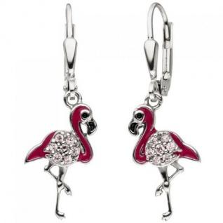 Kinder Ohrhänger Flamingo pink 925 Silber 14 Zirkonia Ohrringe