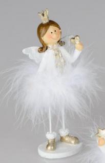 Weihnachts-Deko-Figur Engel mit Plüsch-Federn und Herz aus Kunststein weiss silber 16cm groß Winter-Engel