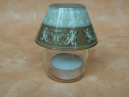 Glaslampe mit Engeln für Teelichter, 9 cm hoch