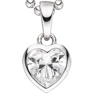 Kinder Anhänger Herz 925 Sterling Silber 1 Zirkonia Herzanhänger