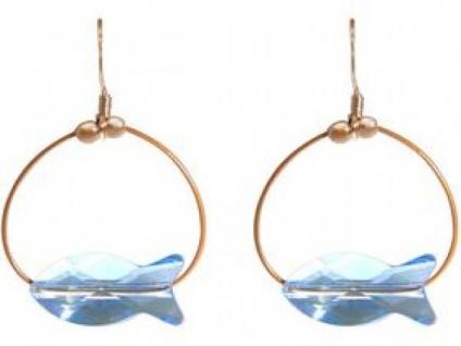 Ohrringe Rose vergoldet Fisch Blau MADE WITH SWAROVSKI ELEMENTS®