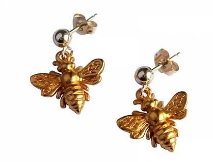 Ohrringe 925 Silber Vergoldet BEE Biene 1, 5 cm