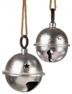 Weihnachtsglocke ein Stück Weihnachtskugel groß Christbaum-Kugel Jingle Bell xxl Metall silber 23 cm Ø retro