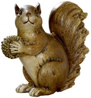 Eichhörnchen-Deko-Figur mit Eichel-Futter und Winterdeko Herbstdeko braun 13, 5x12x13 cm gross Nussknacker