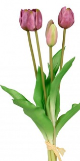 Künstliche Tulpen als Bund 5 Stück einzeln verwendbar grün lila 36 cm