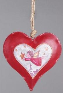 Nostalgischer Dekohänger Herz in Rot Weiß mit Engel, 18 cm