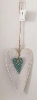 DIO Hängedeko Herz aus Sperrholz, weiß/ blau, 10, 5x18cm