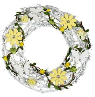 künstlicher Türkranz Blumenkranz Metall mit Rattan gelb weiß 26 cm