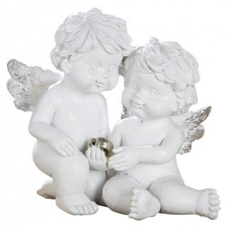 Schutz-Engel kleines Paar mit silbernem Herz Antik Weiß Wetterfest 6 cm