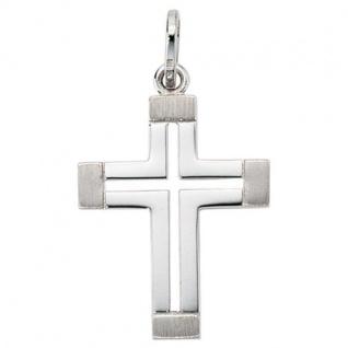 Anhänger Kreuz 585 Gold Weißgold mattiert Kreuz Anhänger Goldkreuz
