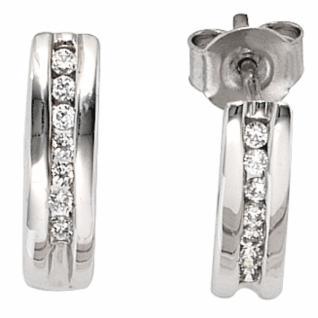 Halb-Creolen 585 Gold Weißgold 14 Diamanten Brillanten 0, 15 ct.