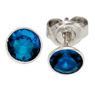 Ohrstecker 925 Sterling Silber 1 Zirkonia blau Ohrringe