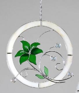 formano Fensterbild aus Tiffany-Glas mit grüner Blume