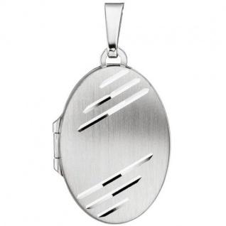 ovales Medaillon für 2 Fotos 925 Sterling Silber matt zum Öffnen