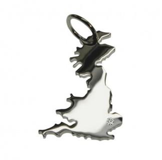 ENGLAND Kettenanhänger aus 925 Silber mit Brillant am Wunschort