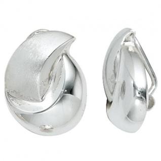 Ohrclips 925 Sterling Silber rhodiniert teilmattiert