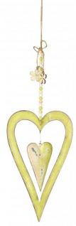 Fensterdeko hängend Metall Herz in Grün 28 cm Fensterschmuck