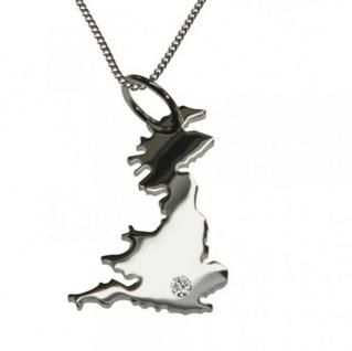 ENGLAND Anhänger 925 Silber mit Brillant am Wunschort mit Halskette