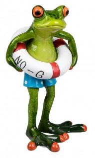 Deko Frosch mit blauer Badehose und Schwimmring grasgrün 16 cm