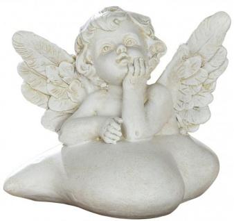 Schutz-Engel Figur auf Herz Antik Weiß Beige wetterfest 11 cm