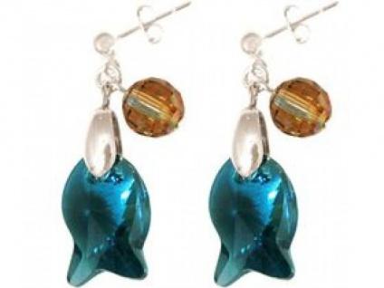 Ohrringe 925 Silber Fisch Blau MADE WITH SWAROVSKI ELEMENTS®