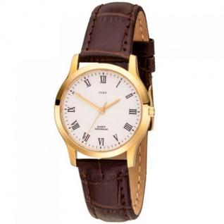 JOBO Damen Armbanduhr Quarz Analog Edelstahl gold vergoldet Leder