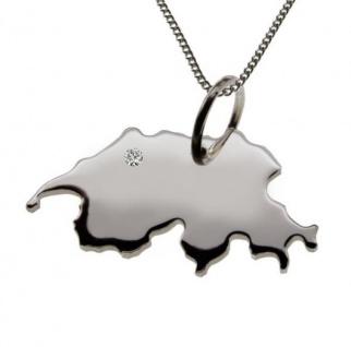 SCHWEIZ Anhänger 925 Silber mit Brillant am Wunschort mit Halskette
