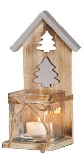 GILDE Windlicht Haus mit Tannenbaum aus Holz und Glas, 12 cm