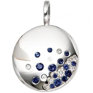 Anhänger rund 585 Weißgold 10 Diamanten 0, 10 ct. 14 blaue Safire