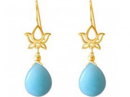 Ohrhänger 925 Silber vergoldet Lotus Blums Tropfen Blau YOGA 4 cm