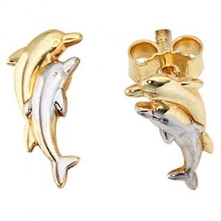 Kinder Ohrstecker Delfine 333 Gold Gelbgold bicolor Kinderohrringe