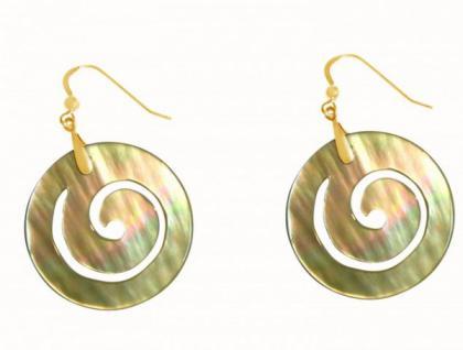 Gemshine Damen Ohrringe Vergoldet Perlmutt Gold 4 cm