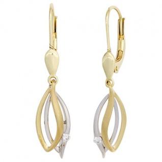 Boutons 585 Gold Gelbgold Weißgold 2 Diamanten Brillanten Ohrhänger