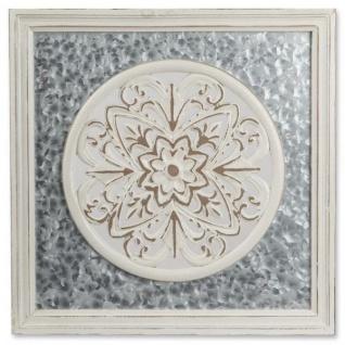 Wanddeko eckig 54 x 54 cm Metall und Holz mit Ornament Durchbbruch