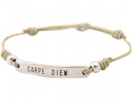 Gemshine Damen Armband Gravur CARPE DIEM Silber Nude