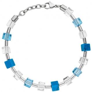 Armband mit Kristallsteinen und Türkis-Würfeln 21 cm