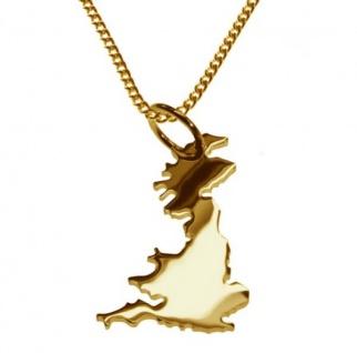 ENGLAND Kettenanhänger aus massiv 585 Gelbgold mit Halskette