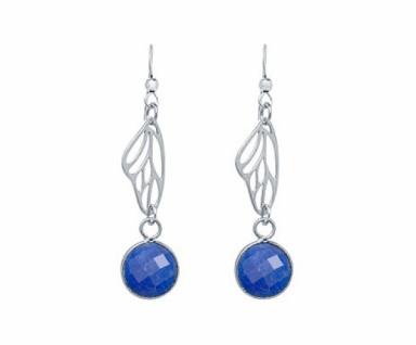 Ohrringe 925 Silber Schmetterling Flügel Saphir Blau 4 cm