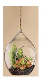 GILDE Deko Kaktus Sukkulente im Tropfenglas, 9 x 9, 5 x 14 cm