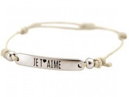Gemshine Damen Armband Gravur JE T?Â?´AIME Silber Nude