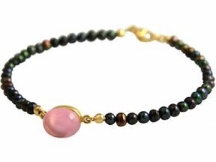 Gemshine Damen Armband Vergoldet Tahiti Grau Perlen Quarz Rosa 18 cm