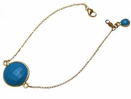 Damen Armband Vergoldet Türkis Blau Facettiert 19 cm
