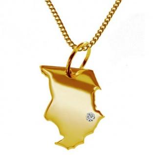 TSCHAD Kettenanhänger mit Brillant aus 585 Gelbgold mit Halskette