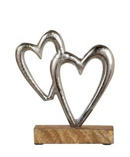 zwei Herzen auf Sockel Alu-Herz Dekoherz mit Mangoholz silber natur 27 x 27 cm