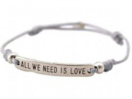 Gemshine Damen Armband Gravur ALL WE NEED IS LOVE Silber Nude