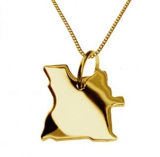 ANGOLA Kettenanhänger aus massiv 585 Gelbgold mit Halskette