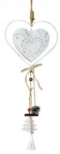 Fensterhänger Girlande Herz zum hängen Fenster-Deko aus Metall Ornament Türdeko creme weiß 7x40cm groß