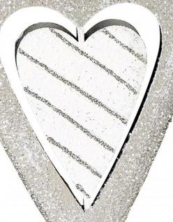 Fensterhänger Herz aus Metall zum hängen Fenster-Deko Ornament Weihnachtsbaumschmuck grau weiß 4x12cm groß